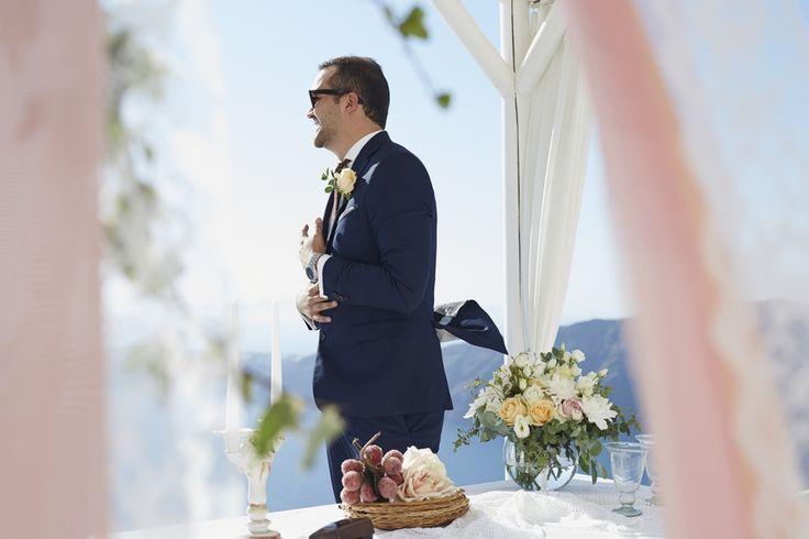 Groom, Happy, Caldera View, Gazebo, Venue, Style, Moments, Memories, In Love, Santorini Weddings