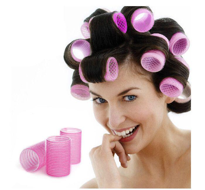 6 stks/partij grote klittenband haar rollen styling roller curler hairdressing tool fashion roll gratis verzending