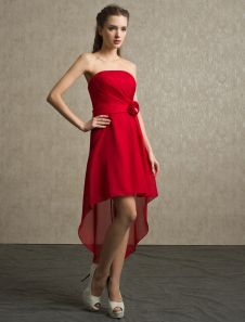 Special Occasions Asymmetrical Red A-line Beading Chiffon Bridesmaid Dress with Strapless Neck