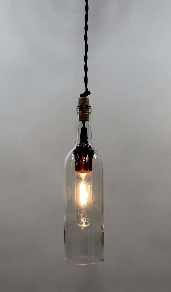 Clear Champagne Wine bottle pendant light by ParisEnvy on Etsy, $48.00