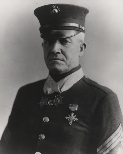 Sgt.Maj. Daniel Daly (1873-1937). He was a respected marine for 30 years and is one of just 19 men to earn 2 Medals of Honor. He received his for actions in the Boxer Rebellion and the Banana Wars on Haiti. He was nominated for a third during World War I but was given a Distinguished Service Cross, a Navy Cross and a Silver Star instead.