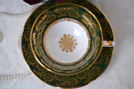 Royal Grafton Deep Green And Gold Teacup and by TheTeacupAttic