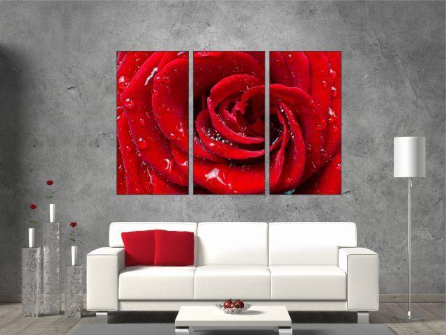 Tablou 3 piese trandafir rosu - cod E22