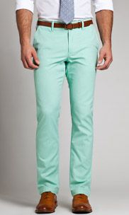 Mint green pants.