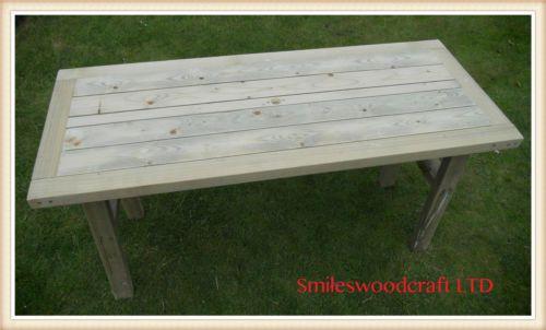 Wooden Garden Table Bespoke Wooden table | eBay