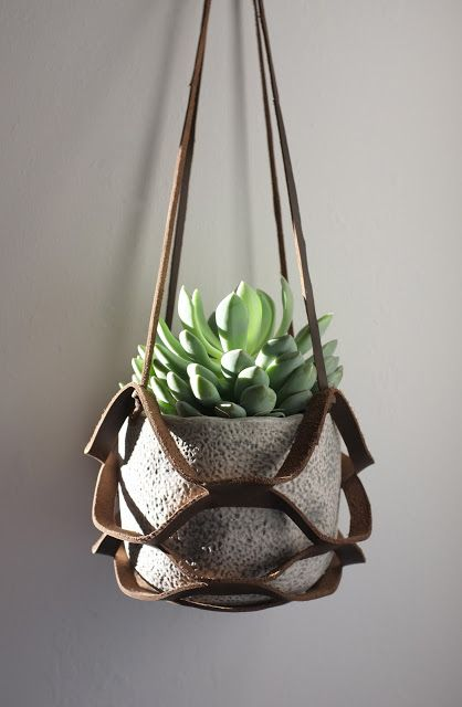 macrame plant holder - leather kirigami with succulents & cement planter