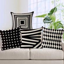 2015 nueva negro y blanco geométrica almohada cojín amortiguador del coche del amortiguador del bordado sofá Ikea(China (Mainland))