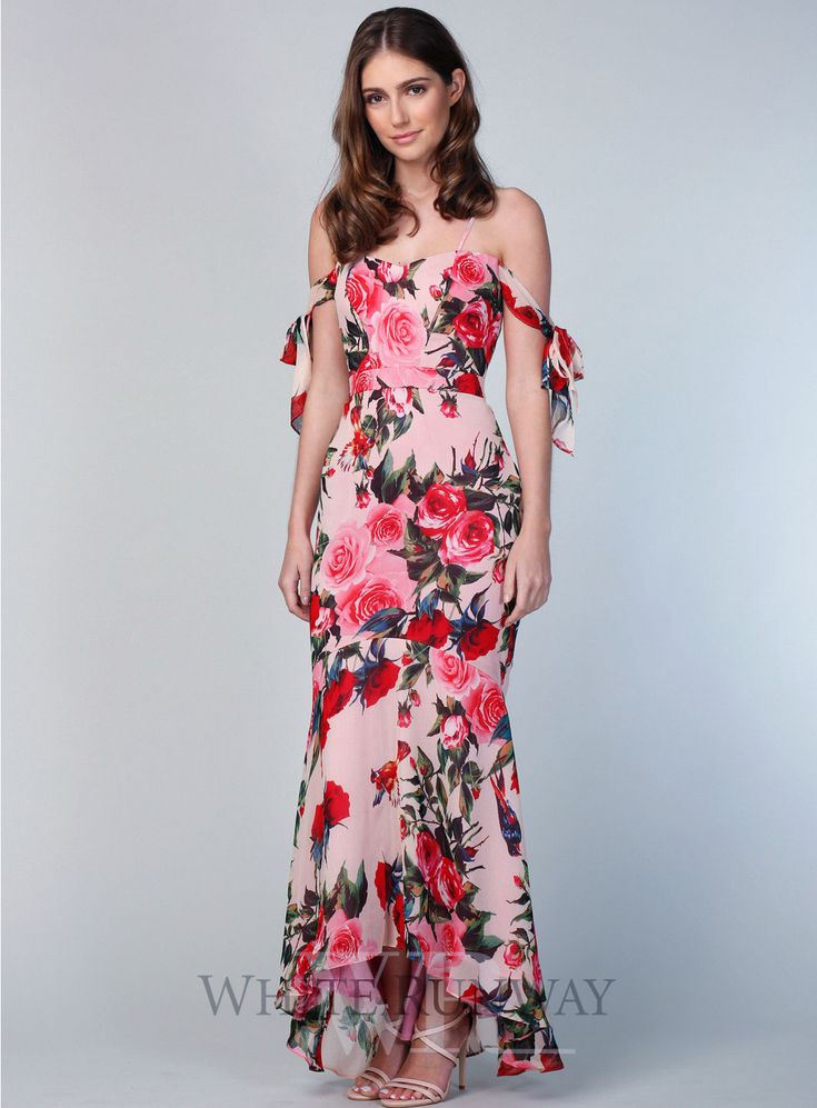Scarlet Dress. A gorgeous full length dress by Romance the Label. A sweetheart neckline style featuring off the shoulder ties and fishtail skirt.