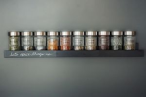 IKEA: RIBBA picture ledge, DROPPAR spice jars Description:It's a simple, but very effective hack to create a minimalist spice rack with a by Kjost