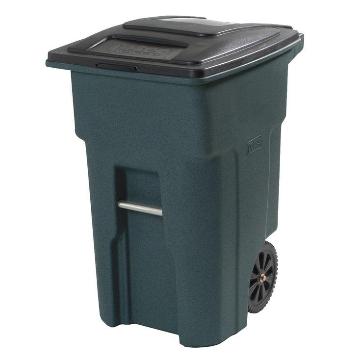 Toter 32-Gallon Greenstone Wheeled Trash Can