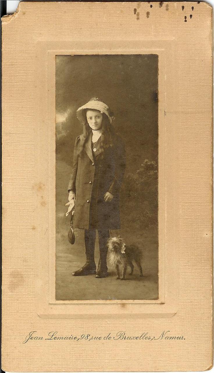 GIRL WITH BRUSSELS GRIFFON.    Jean Lemaire, 98 rue de Bruxelles, Namur.    Date unknown.