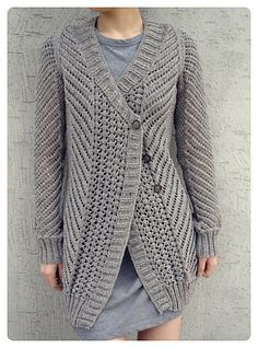 Free knitting pattern for Oblique cardigan by Veronik Avery with diagonal lace pattern and more free cardigan knitting patterns at http://intheloopknitting.com/cardigan-sweater-knitting-patterns/