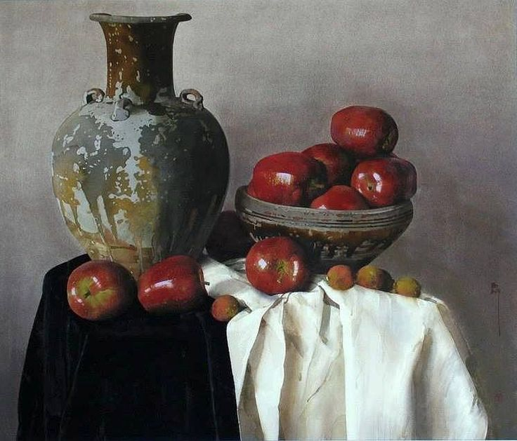 刘寿祥 / Liu Shouxiang (b. 1958, China) Fresh fruit. 1992 watercolor. 77 x 86 cm.