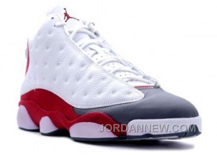 310004-161 Men's Nike Air Jordan 13 Shoes Anniversary White/Team Red-Flint Grey Lastest Mf6YQB