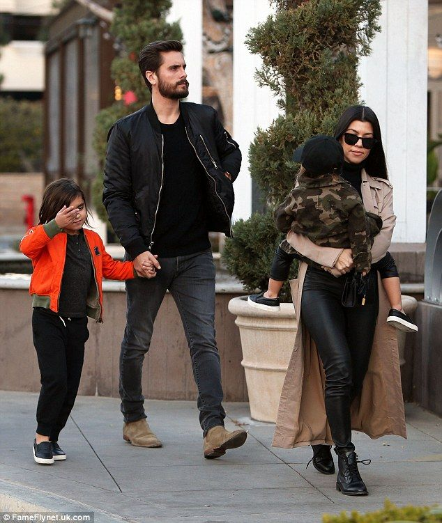The family:Together Scott and Kourtney have three children: Mason, aged six, Penelope, aged three, and Reign, aged one; here they are seen without Reign on January 3 in Calabasas