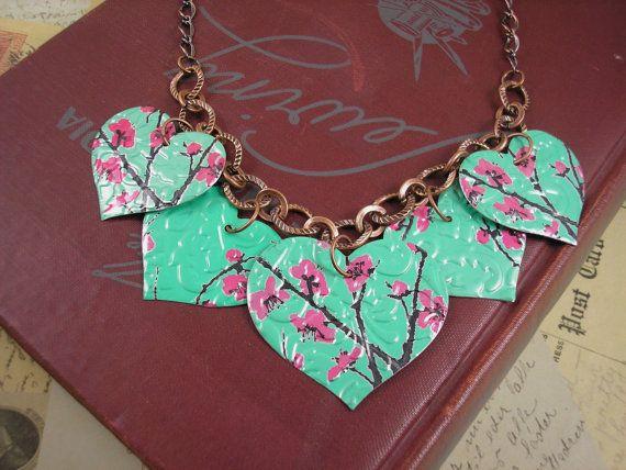 Recycled Soda Can Art  5 Heart Necklace  DOUBLEsided by jillmccp, $14.95