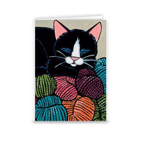 Cat Sleeping on Yarn Hill Greeting Card by lisamarierobinson at zippi.co.uk