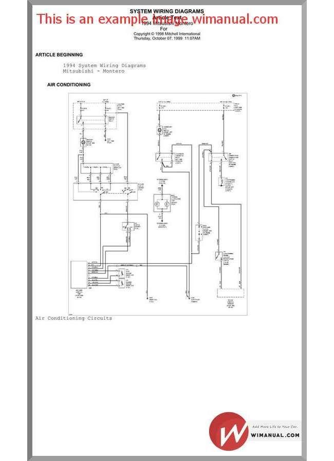 Mitsubishi Pajero 1994 Wiring Diagram