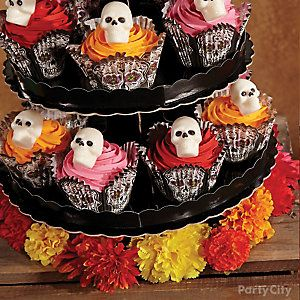 Day of the Dead Candy Skull Cupcake Tower How To