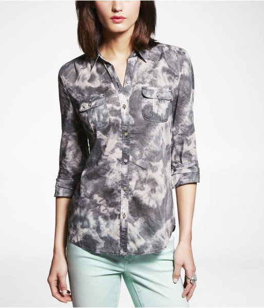 Express Womens Tie Dye Easy Fit Cotton Shirt Gray, X Small