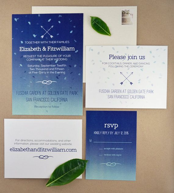 A beautiful DIY printable wedding invitation suite in a navy and sky blue ombre featuring arrow and knot motifs.  Suite includes matching invitation, rsvp response card, reception card, and information enclosure card.  By Pink Balloon Paper (www.etsy.com/shop/pinkballoonpaper)