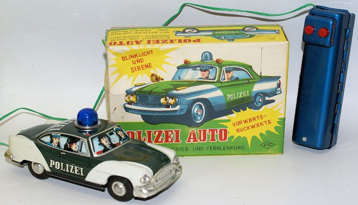 Vintage Tin Battery Op Remote Controlled Polizei Police Car by Aoshin (ASC), Japan