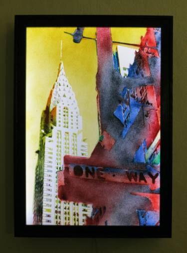 "Saatchi Art Artist Alberto Silva; Painting, ""One way - Yellow version. Light Box. 5 of 5."" #art"