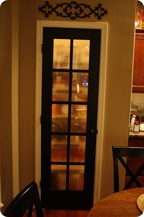I love how she swapped her Pantry door with this one painted black and with frosted glass.: Idea, Pantry Doors, Pantry Laundry, Doors A, Dream, Pantries, Kitchen