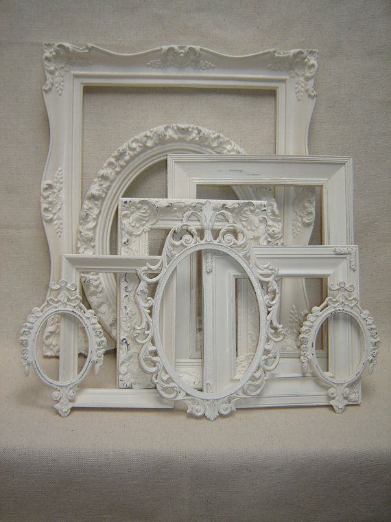 upcycled french victorian romantic cottage wedding picture frames ornate cottage white picture frames - White Vintage Picture Frames