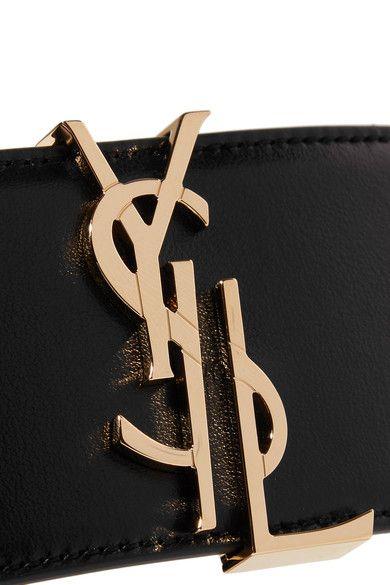 Saint Laurent - Embellished Leather Waist Belt - Black - 80