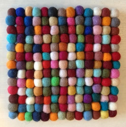 Felt Ball Trivet in Multi-Color