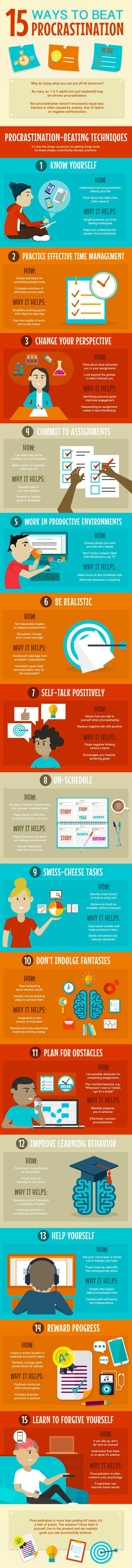 15 ways to overcome procrastination.