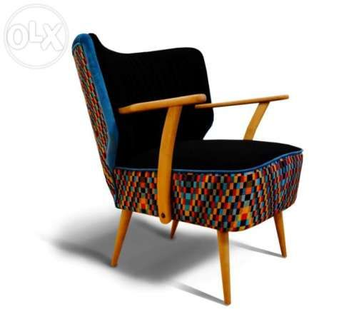 Fotel klubowy, uszak, lata 60,70, PRL, art deco, po renowacji Poznań - image 1