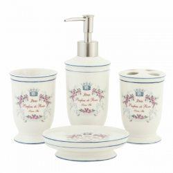 Badkamerset in landelijke stijl, die goed past bij een klassieke badkamer of keuken. De porceleinen set is van Clayre & Eef. De opdruk van deze wastafelaccessoire is Paris Parfum des roses (geur van de rozen).  De 4-delige badkamerset bestaat uit: * Zeeppomp, * Tandenborstelbeker, * Zeepschaal, * Beker  Afmetingen: Zeepdispenser 20 cm hoog, doorsnede 6,5 cm Zeepschotel 12,5 x 12,5 x 2,5 cm, Beker 11,5 cm hoog, doorsnede 6,5 cm, Tandenborstelhouder 11,5 cm hoog, doorsnede 6,5 cm