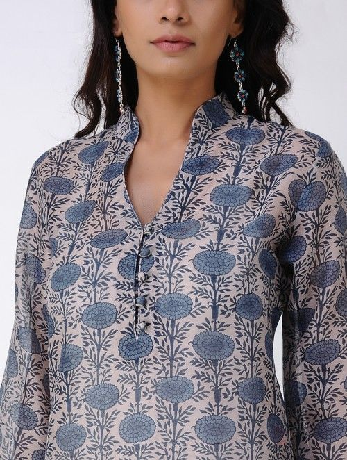 Ivory-Blue Block-printed Handwoven Chanderi Kurta