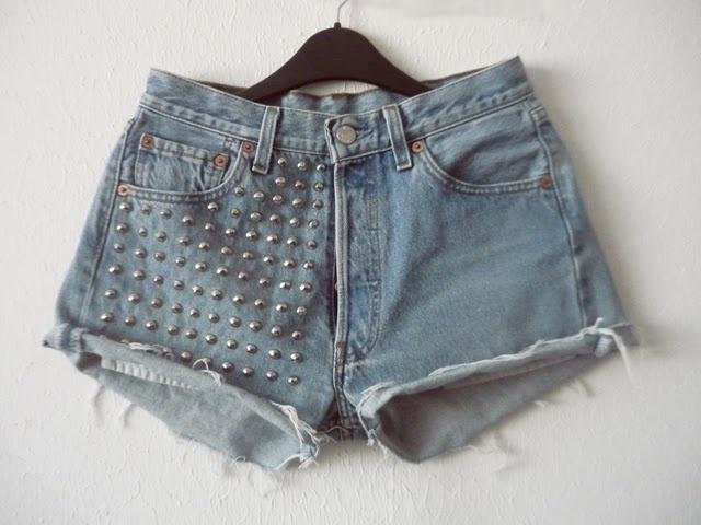 DIY studded shorts.