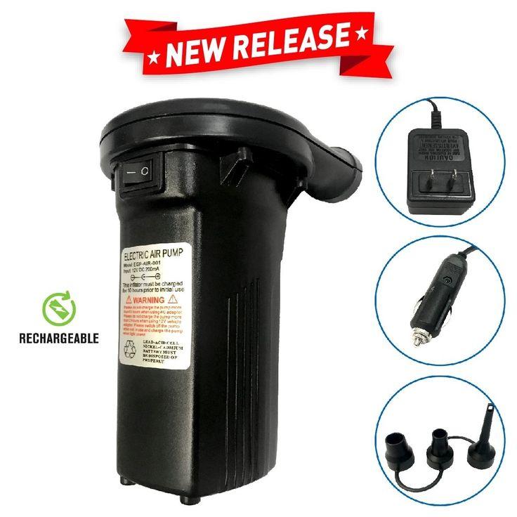 EasyGo Rechargeable Air Pump 110120 Volt, Black Air