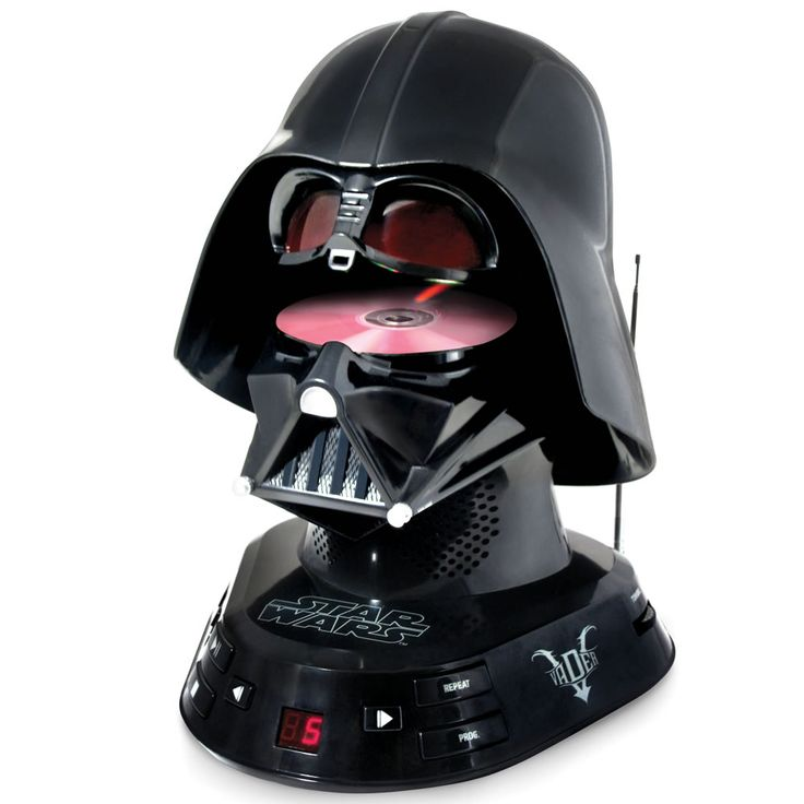 The Darth Vader CD Player - Hammacher Schlemmer - This is the CD player and AM/FM radio in the shape of Darth Vader's helmet, adding a certain Imperial gravitas to even the lightest of tunes.