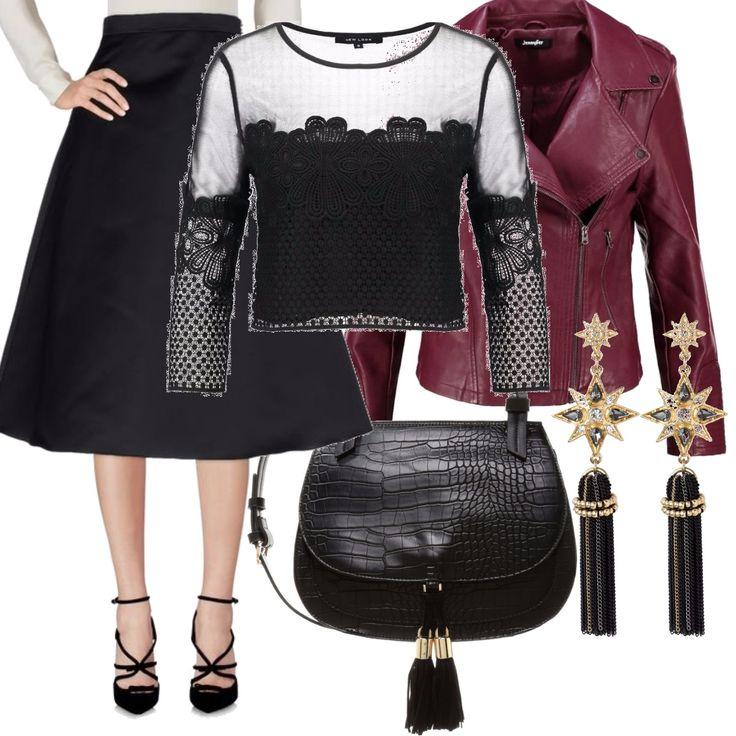 Outfit Rock ed elegante per chi ama stare al passo con i tempi. Colori autunnali per caratteri decisi e donne che amano distinguersi, da indossare per un aperitivo serale, o un party con amiche.