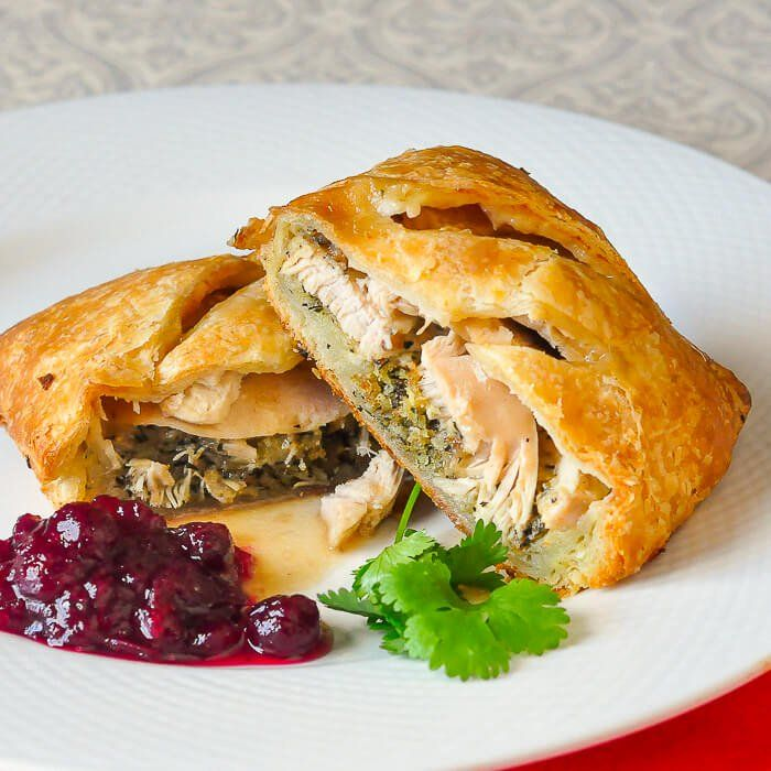 Leftover Turkey Turnovers - some frozen puff pastry plus the leftovers from a roast turkey or chicken dinner combine in these easy to make turnovers.