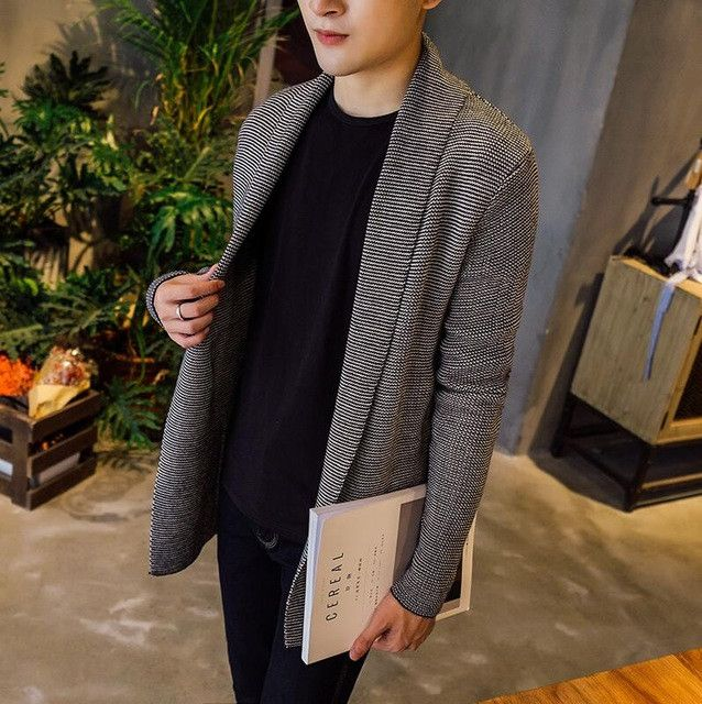 2017 Korean Fashion Male Cardigan Mens Wool Shawl Collar Sweater Slim Thicken Sweater Men Warm Winter Sweaters Knitted Jacket