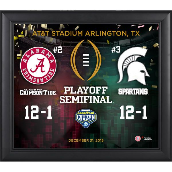 Fanatics Authentic Alabama Crimson Tide vs. Michigan State Spartans 2016 Cotton Bowl College Football Playoff Framed 15'' x 17'' Collage - $59.99