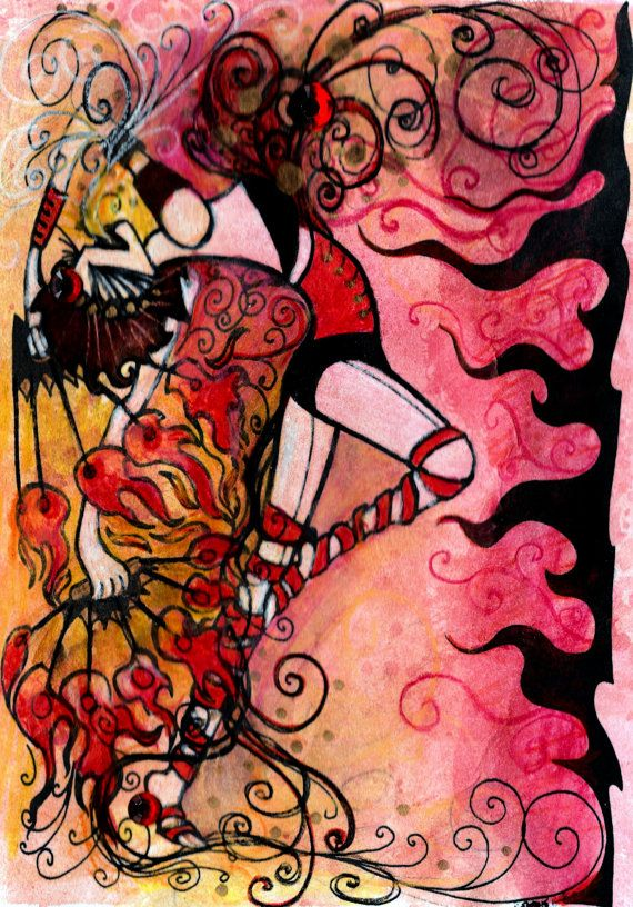 "Fire Dancer - PEX fire dancer 5x7"" hand colored print"