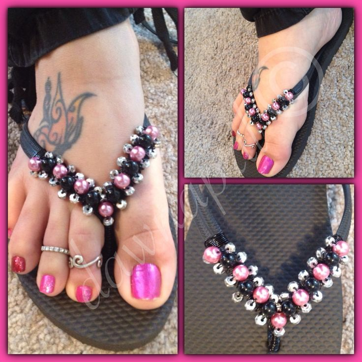 www.dawnapril.com Plain flip flops turned into pretty flip flops with pink pearls and black beads. Flip flop DIY.
