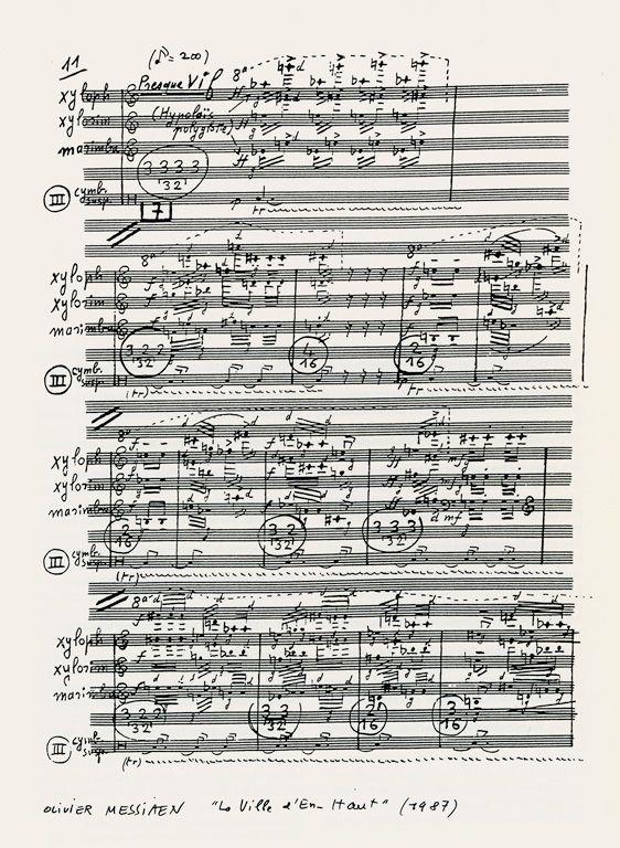 """Olivier Messiaen: """"La Ville d'En-Haut"""", für Klavier und kleines Orchester (1987), Manuskriptseite."""