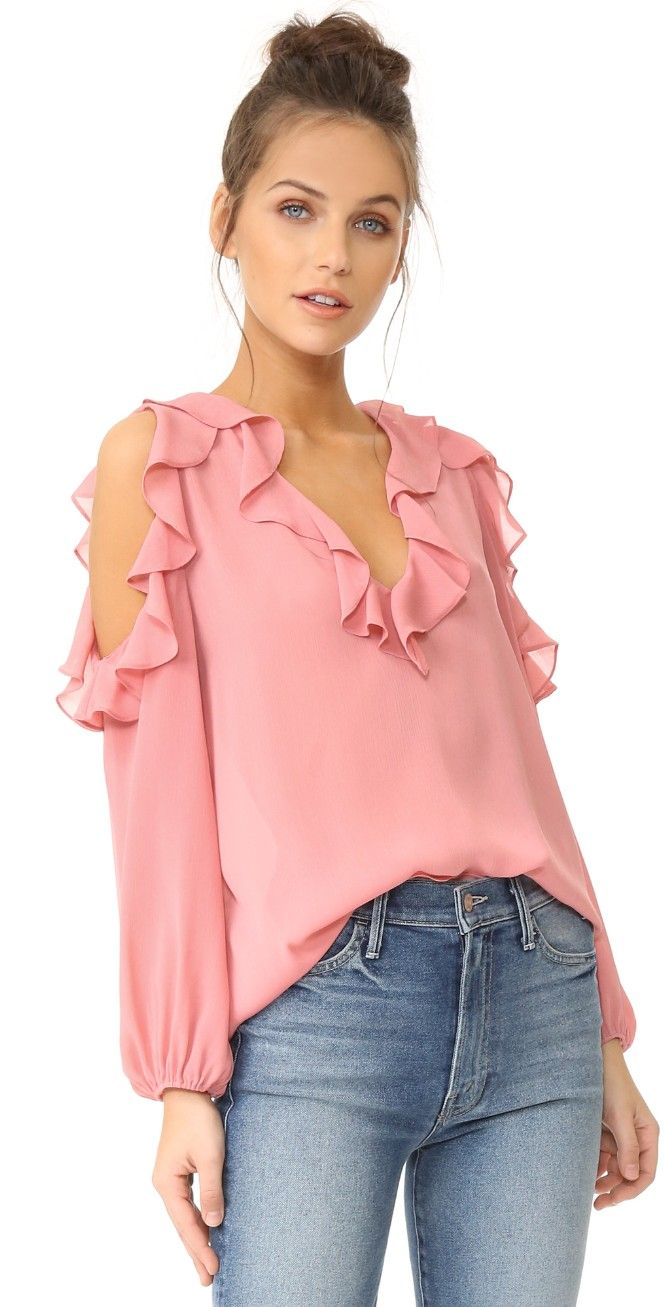 alice + olivia Gia Ruffle Cold Shoulder Blouse | SHOPBOP