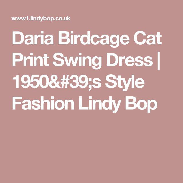 Daria Birdcage Cat Print Swing Dress | 1950's Style Fashion Lindy Bop