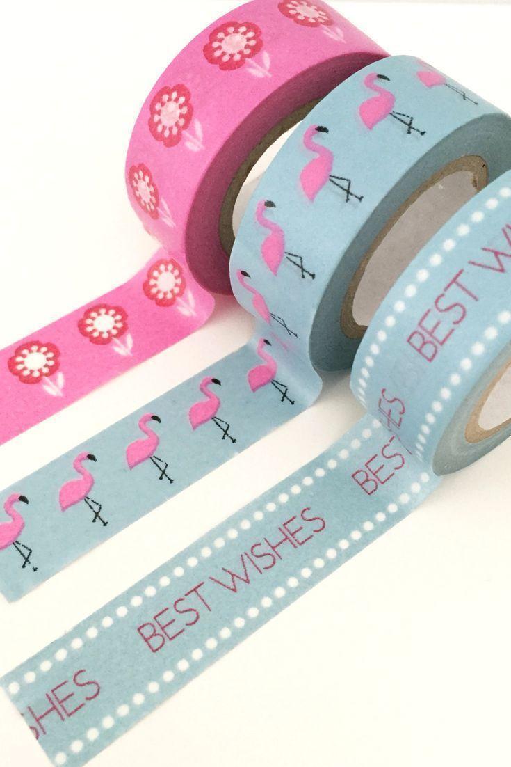 Wonderful washi tape - flamingos, flowers and best wishes.