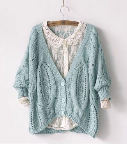 Image of Fashion Cream Twist Crochet Bat Sleeve knit &Cardigan