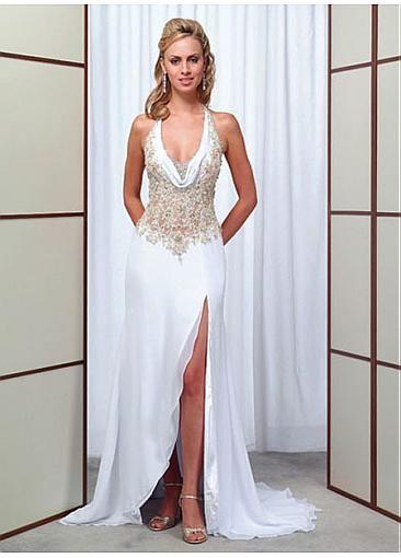 Elegant Exquisite Chiffon & Tulle Sheath Cowl Wedding Dress In Great Handwork